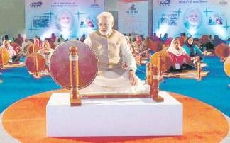 Modi on Charkha on KVIC Calendars